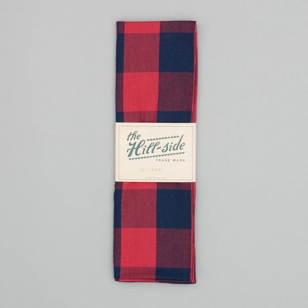 The Hill-Side - Scarf, Indigo/Red Flannel, Buffalo Check - SC1-380