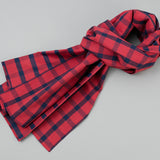 The Hill-Side - Scarf, Indigo/Red Flannel, Windowpane - SC1-379