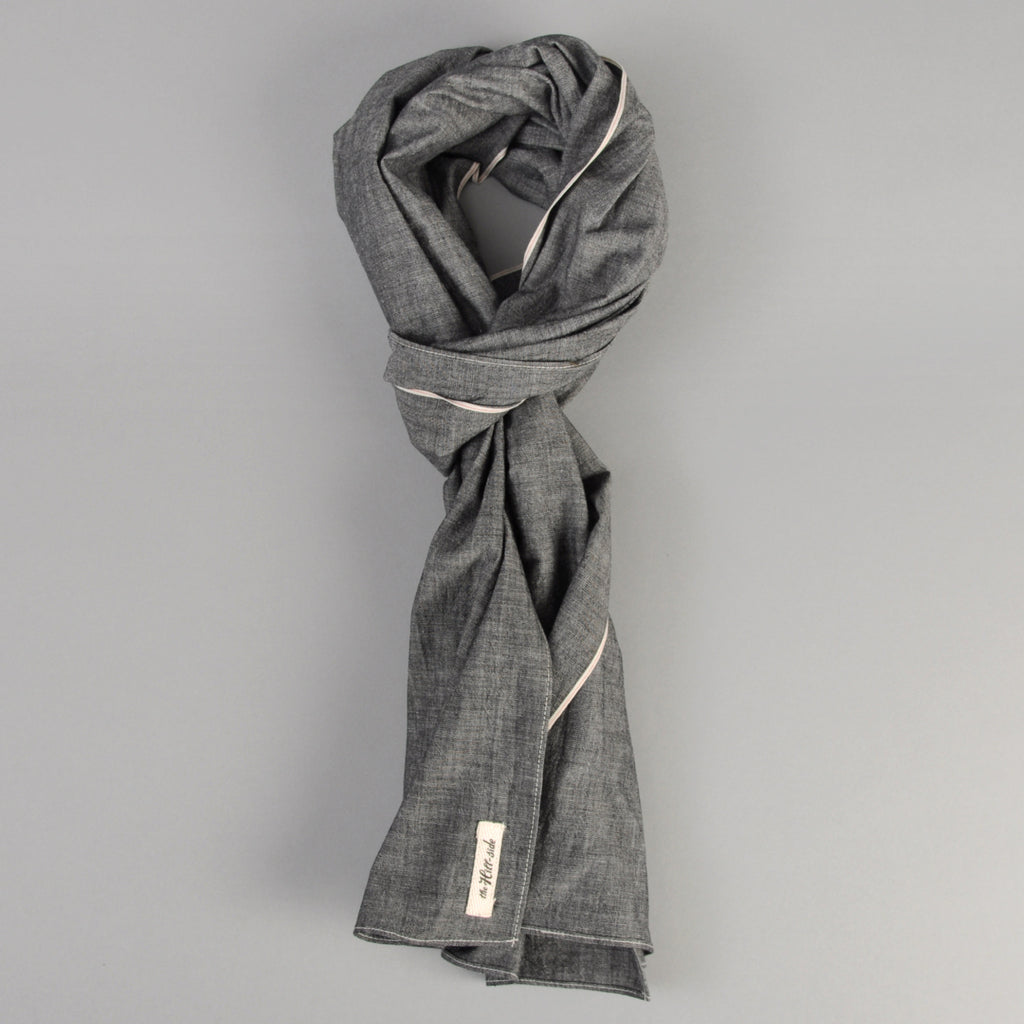 The Hill-Side - Scarf, Selvedge Chambray, Black - SC1-002
