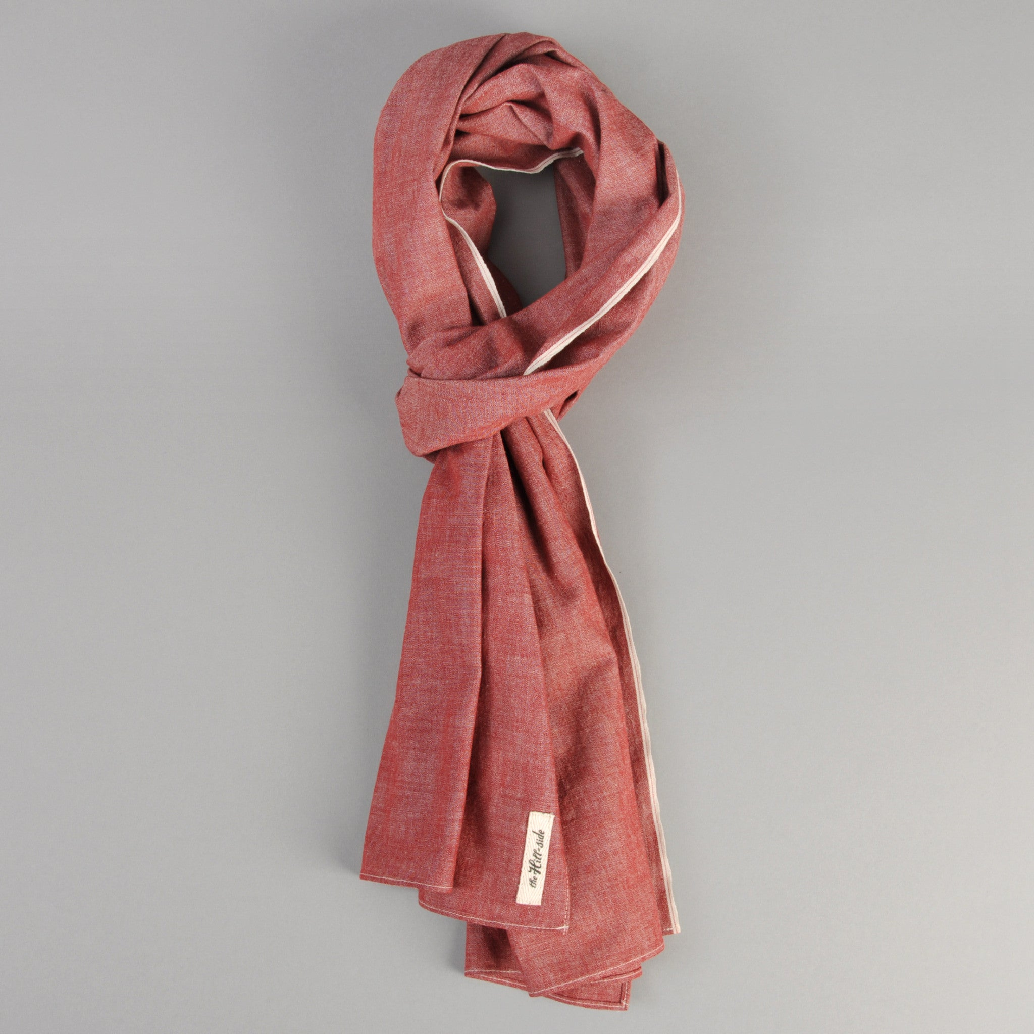 The Hill-Side - Scarf, Selvedge Chambray, Red - SC1-003
