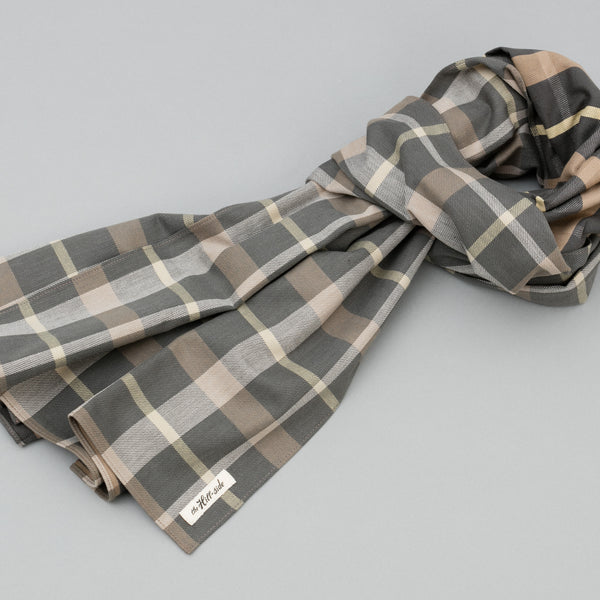 The Hill-Side - Scarf, Sulphur-Dyed Flannel Check, Grey/Brown - SC1-377