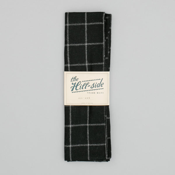 The Hill-Side - Scarf, Wool Blend Windowpane Check, Black & Grey - SC1-384