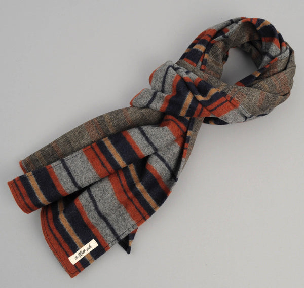 The Hill-Side - Scarf, Wool/Cotton Blanket Stripe, Grey/Navy/Rust - SC1-203
