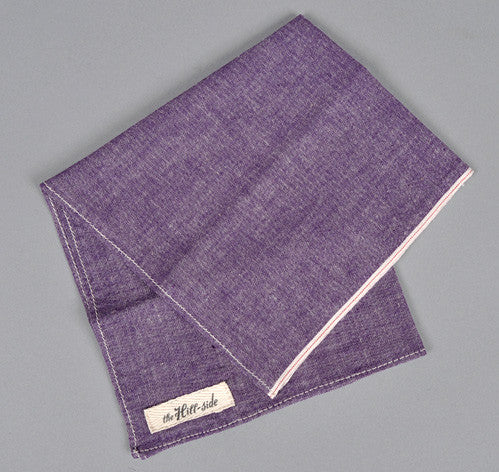 The Hill-Side - Selvedge Chambray Bandana, Purple - BA1-004