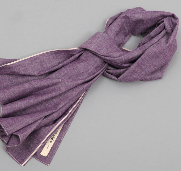 The Hill-Side - Selvedge Chambray Large Scarf, Purple - SC1-004