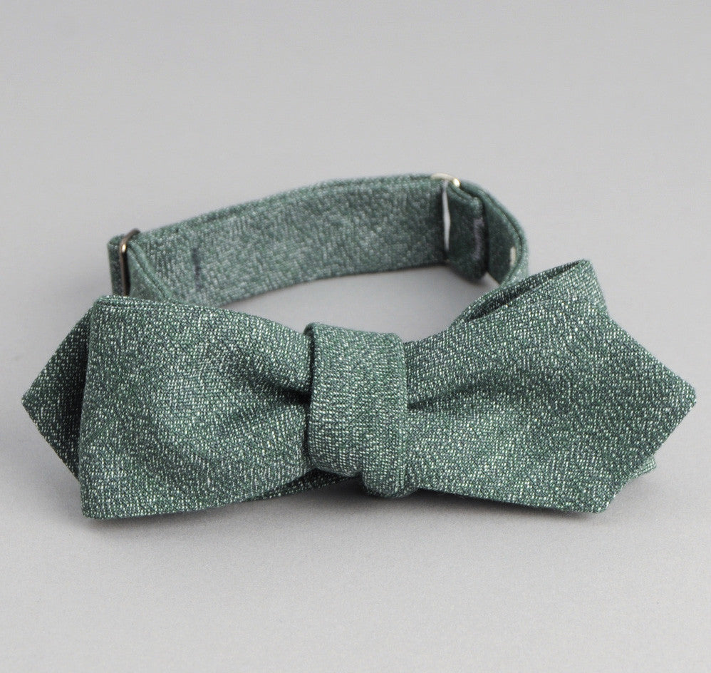 The Hill-Side Selvedge Covert Chambray Bow Tie, Green