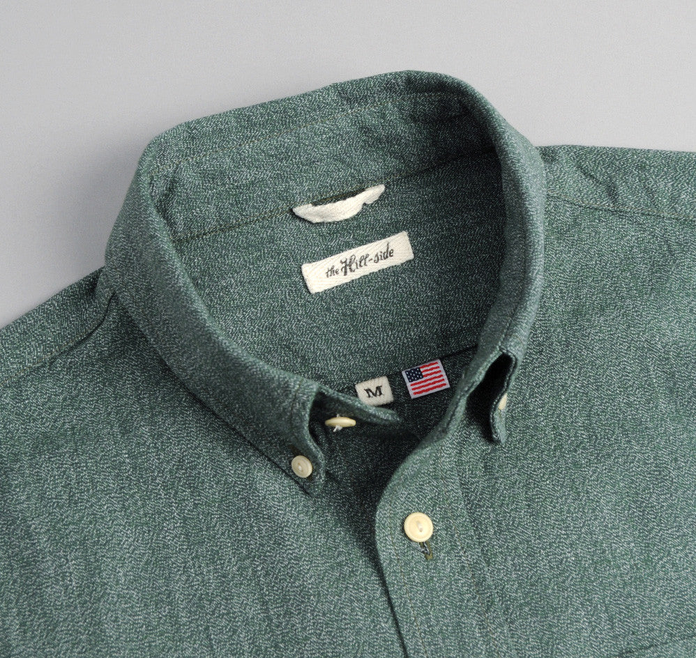 The Hill-Side - Selvedge Covert Chambray Button-Down Shirt, Green - SH1-290
