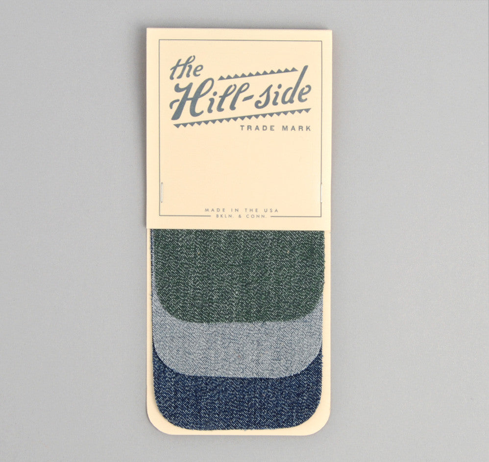 The Hill-Side - Selvedge Covert Chambray Iron-On Patches, Light Indigo - PA1-08