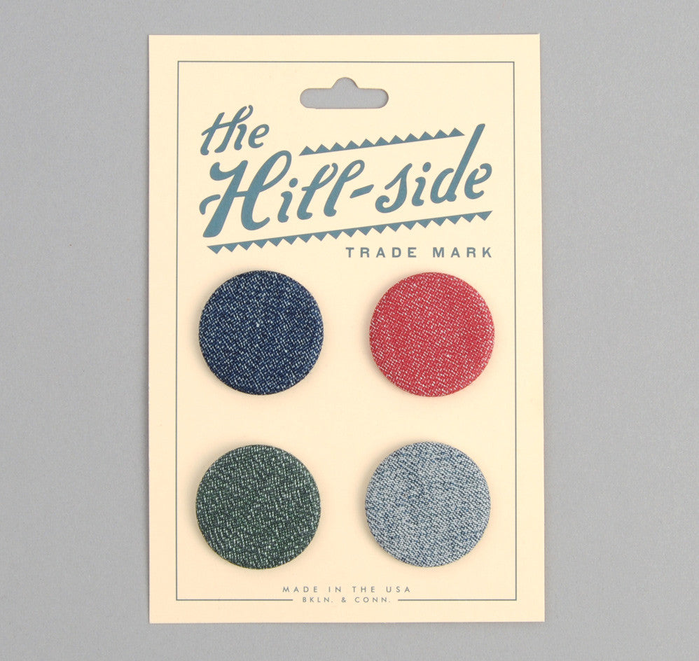 The Hill-Side - Selvedge Covert Chambray Pin-Back Buttons - PB1-11