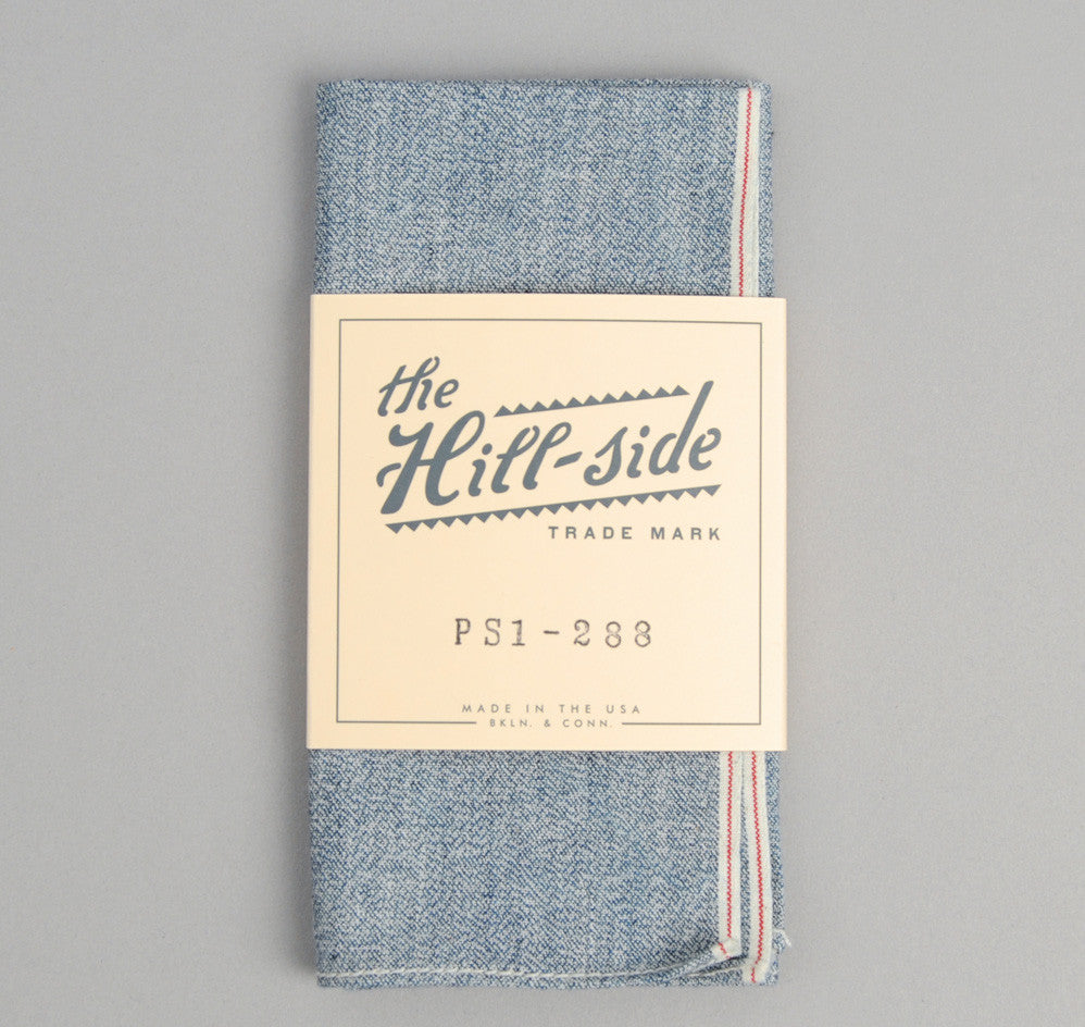 The Hill-Side Selvedge Covert Chambray Pocket Square, Light Indigo