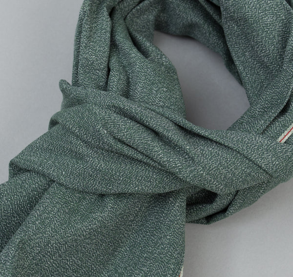 The Hill-Side - Selvedge Covert Chambray Scarf, Green - SC1-290