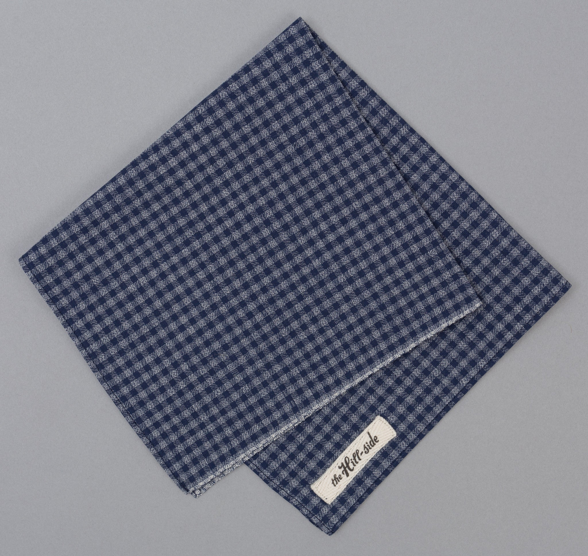 The Hill-Side - Selvedge Covert Gingham Chambray Bandana, Indigo / Indigo - BA1-330
