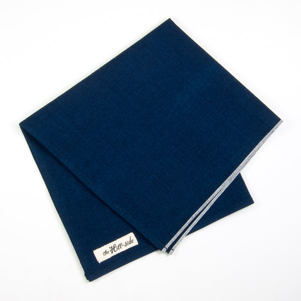 The Hill-Side - PS1-327 - Selvedge Double Indigo Oxford Pocket Square