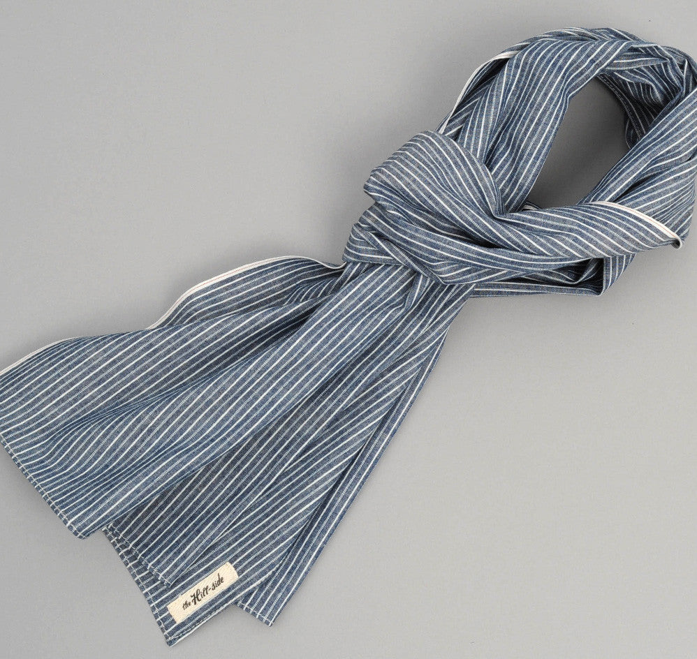 The Hill-Side - Selvedge Double Stripe Chambray Large Scarf, Indigo - SC1-005