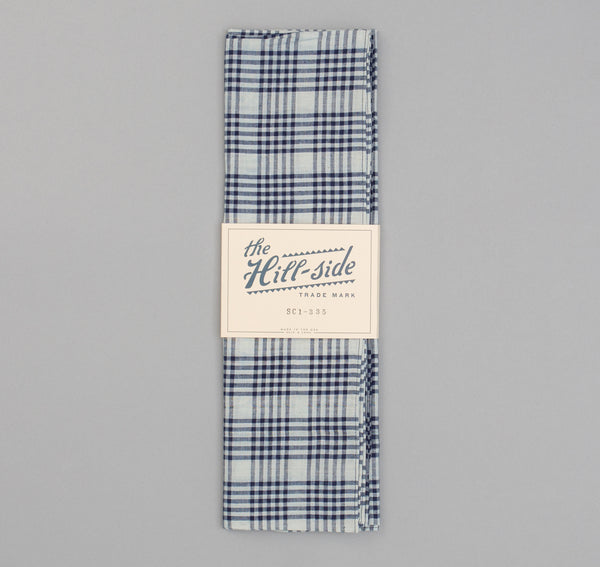 The Hill-Side - Selvedge Indigo Madras 5x5 Plaid Scarf, Natural / Indigo - SC1-335