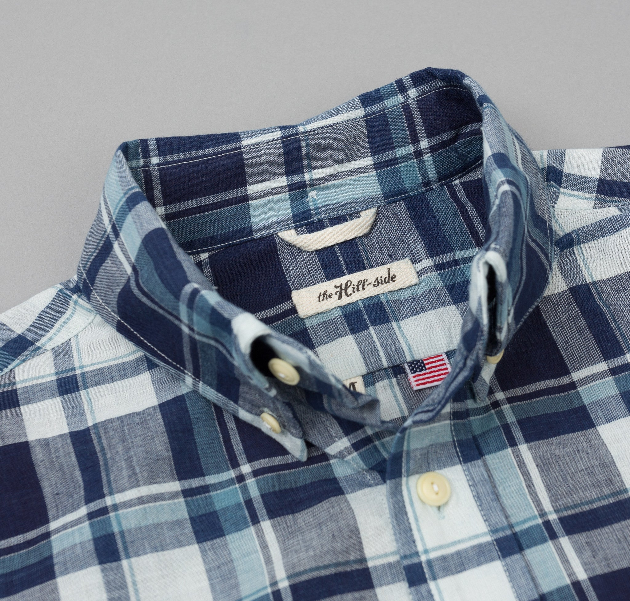 The Hill-Side - Selvedge Indigo Madras Large Check Long Sleeve Standard Shirt, Natural Base - SH1-333