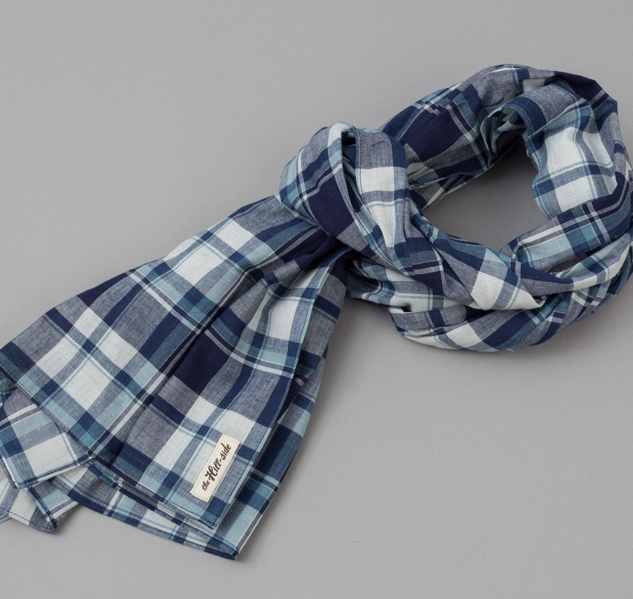 The Hill-Side Selvedge Indigo Madras Large Check Scarf, Natural Base