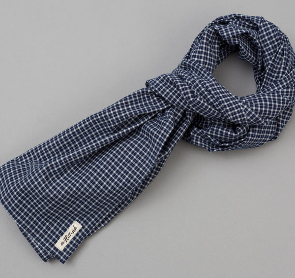 The Hill-Side - Selvedge Indigo Madras Small Check Scarf, Indigo Base - SC1-337