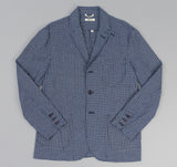 The Hill-Side - Selvedge Indigo Madras Small Check Tailored Jacket, Indigo Base - JK1-337