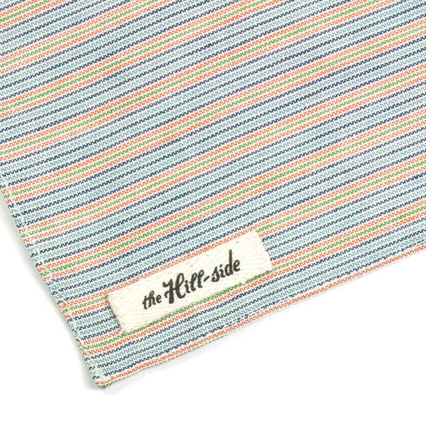 The Hill-Side - S13-103 - Selvedge Indigo / Pastel Stripe Pocket Square