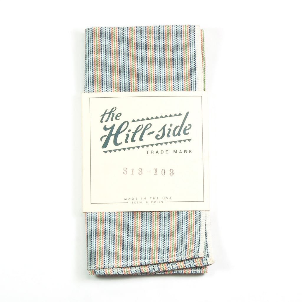 Selvedge Indigo / Pastel Stripe Pocket Square