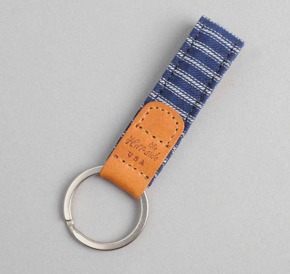 The Hill-Side - Selvedge Indigo Stripe Twill Key Fob - KY1-174