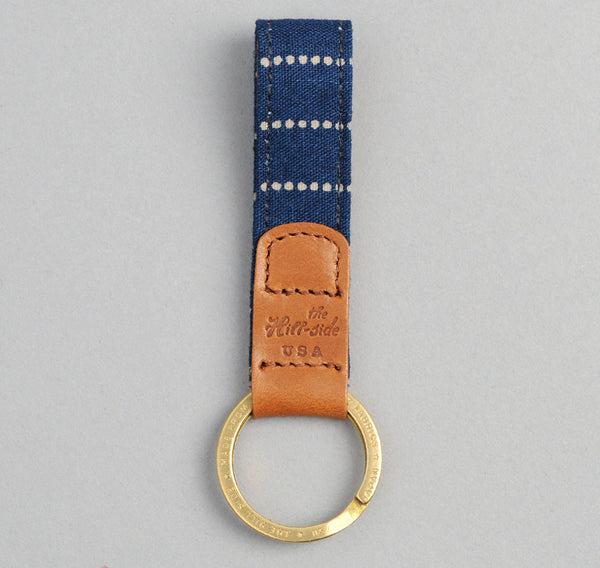 The Hill-Side - Selvedge Indigo Wabash Dot-Stripe Key Fob - KF1-303