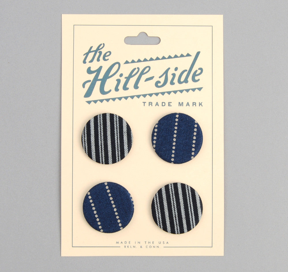 The Hill-Side Selvedge Indigo Wabash Dot-Stripe Pin-Back Button