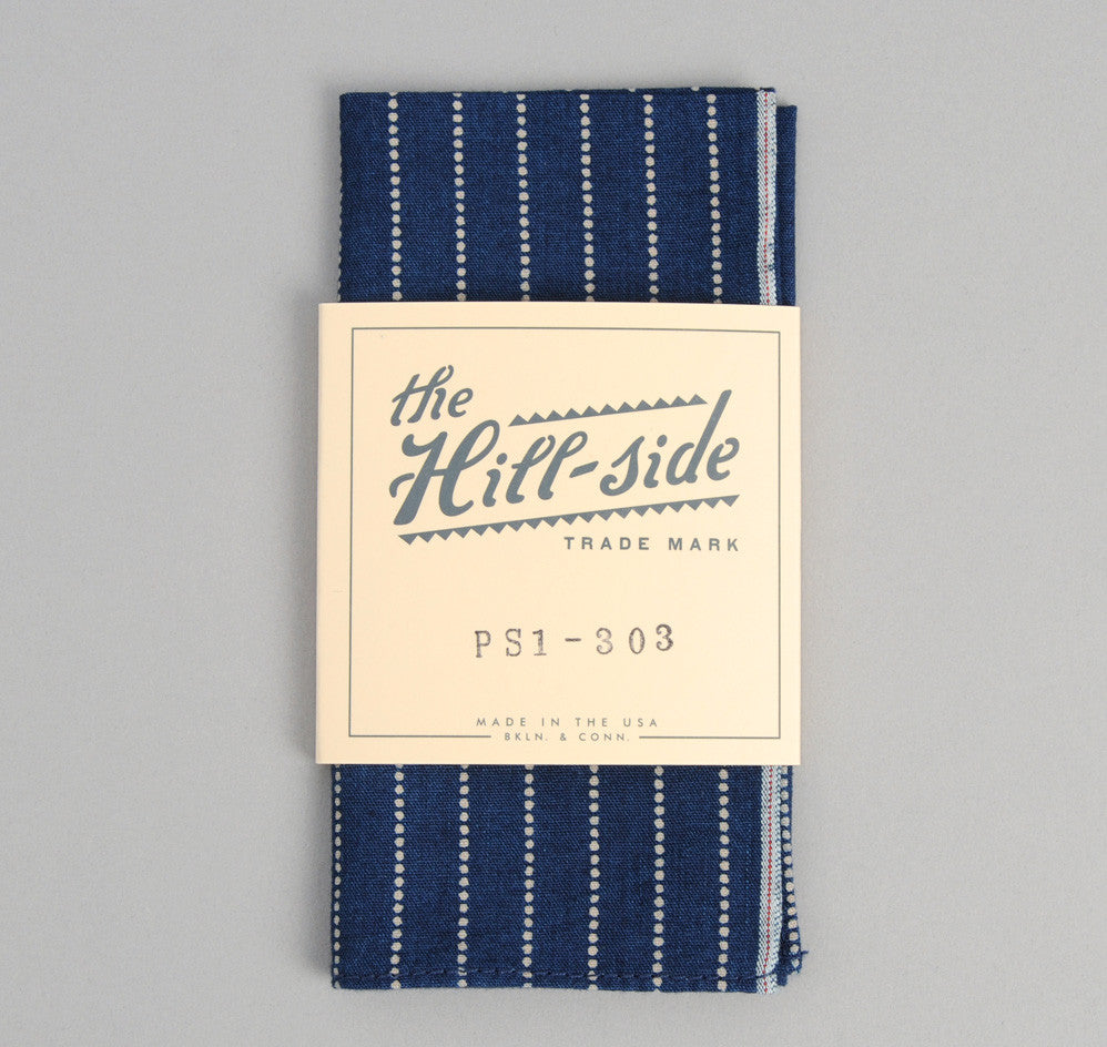 The Hill-Side - Selvedge Indigo Wabash Dot-Stripe Pocket Square - PS1-303