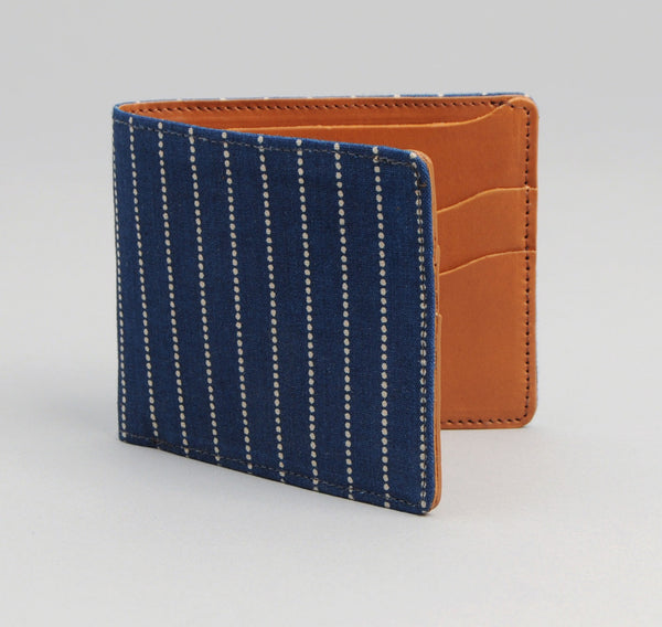 The Hill-Side Indigo Wabash Dot Stripe & Leather Wallet