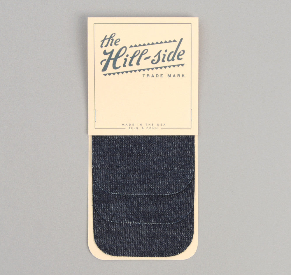 The Hill-Side - Selvedge Lightweight Weft-Slub Denim Iron-On Patches, Indigo - PA1-310