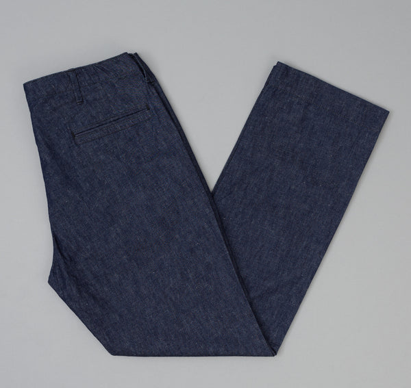 The Hill-Side - Selvedge Lightweight Weft-Slub Denim Mil Chinos, Indigo - LP1-310