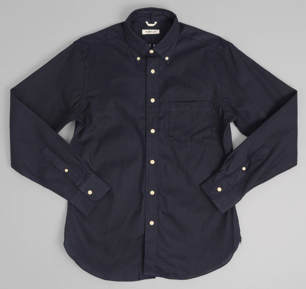 The Hill-Side - Selvedge Panama Cloth Button-Down Shirt, Indigo - SH1-072