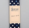 The Hill-Side Selvedge Polka Dot Half- & Full-Discharge Print Tie, Indigo / White