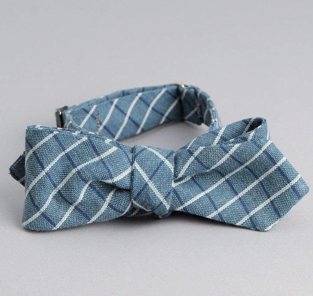 The Hill-Side - Selvedge Square Check Chambray Bow Tie, Indigo / White - BT1-293