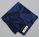 The Hill-Side - Selvedge Tropical Leaves Half-Discharge Print Pocket Square, Indigo / White - S13-077