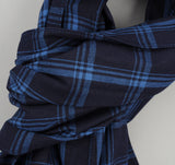 The Hill-Side - Small Check Oxford Large Scarf, Indigo - SC1-254