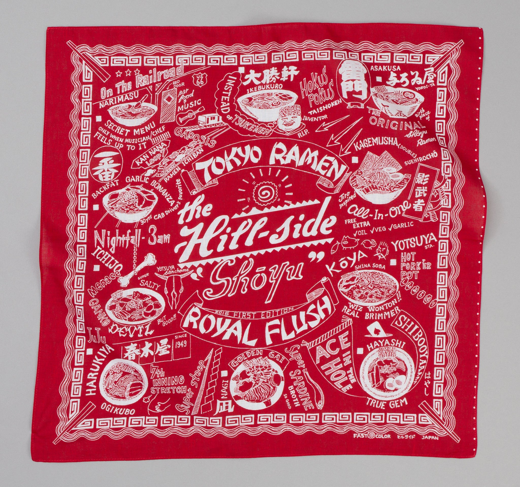 The Hill-Side - Souvenir Bandana, Ramen Joints, Red - SB5-02