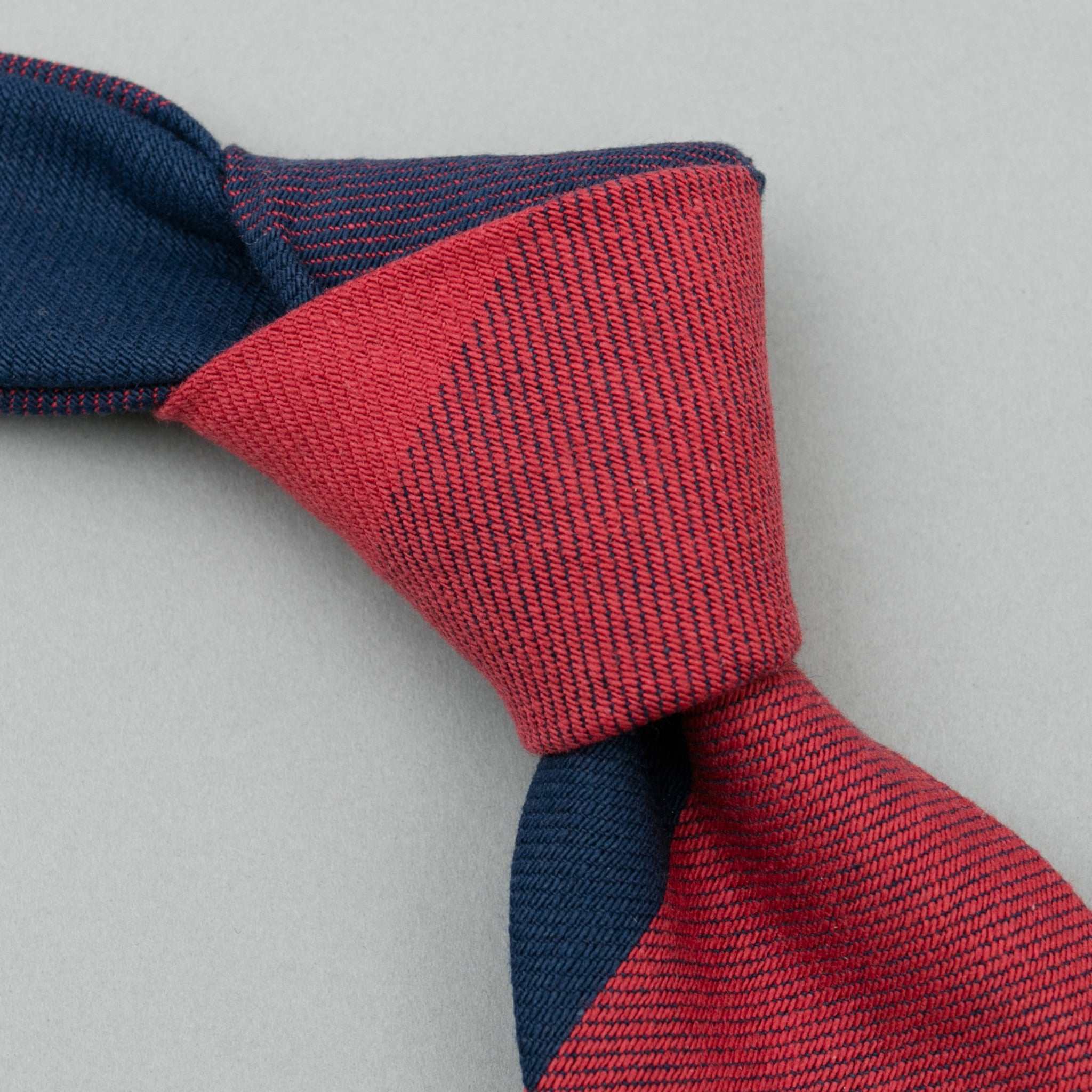 The Hill-Side Indigo/Red Flannel Necktie, Buffalo Check