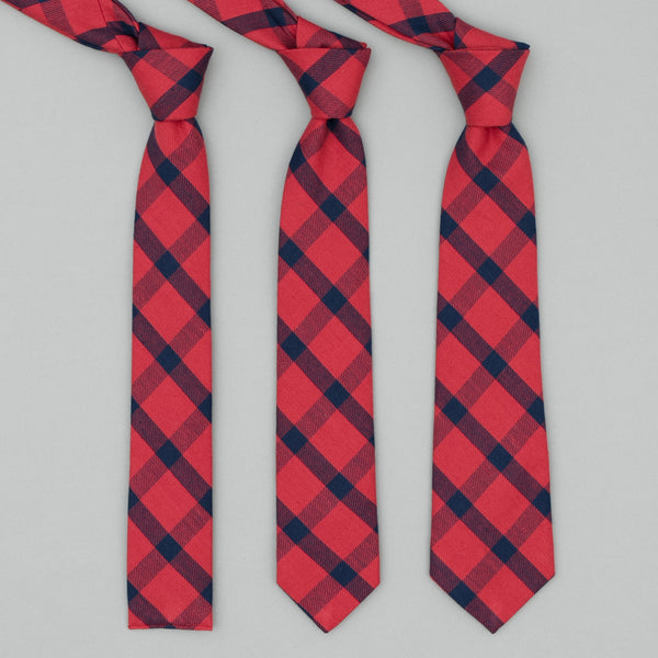 The Hill-Side - Standard Pointed Tie, Indigo/Red Flannel, Windowpane - PT1-379