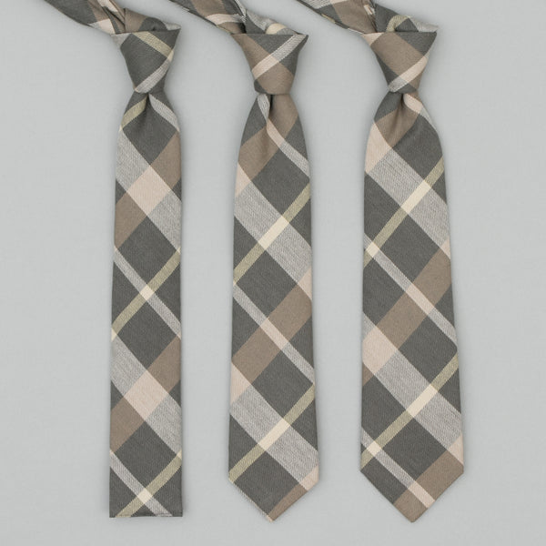 The Hill-Side - Standard Pointed Tie, Sulphur-Dyed Flannel Check, Grey/Brown - PT1-377