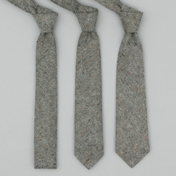 "The Hill-Side - Standard Pointed Tie, Wool Blend ""Galaxy"" Tweed, Oatmeal - PT1-386"