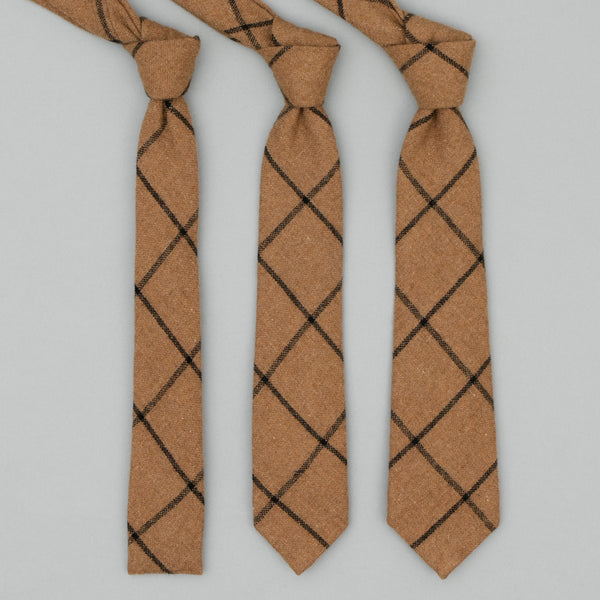 The Hill-Side Wool Blend Windowpane Check Necktie, Brown & Black
