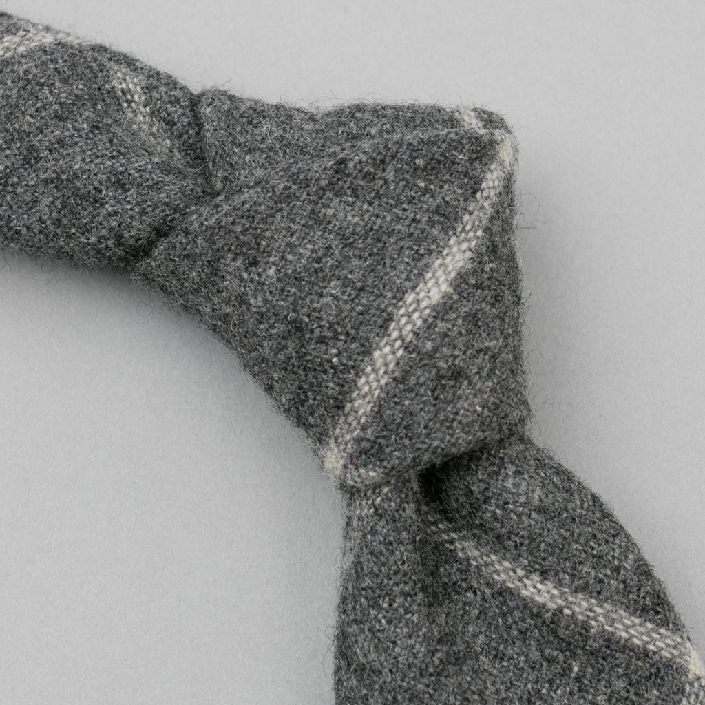 The Hill-Side - Standard Pointed Tie, Wool Blend Windowpane Check, Grey & White - PT1-383