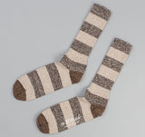 The Hill-Side - Striped Socks, Salt & Pepper / Beige / Brown - SX3-02
