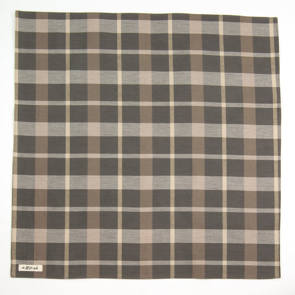 The Hill-Side - BA1-377 - Sulphur-Dyed Check Bandana, Grey / Brown