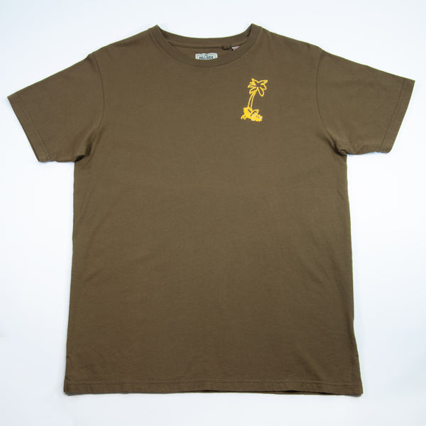The Hill-Side - T-Shirt, Palm Tree Chainstitch Embroidery, Olive Drab