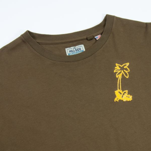 The Hill-Side T-Shirt, Palm Tree Chainstitch Embroidery, Olive Drab