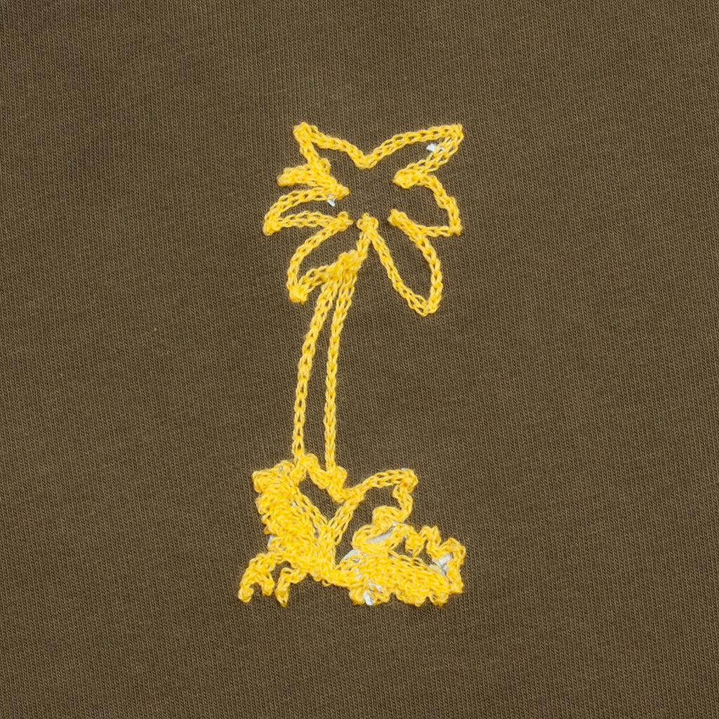 T-Shirt, Palm Tree Chainstitch Embroidery, Olive Drab