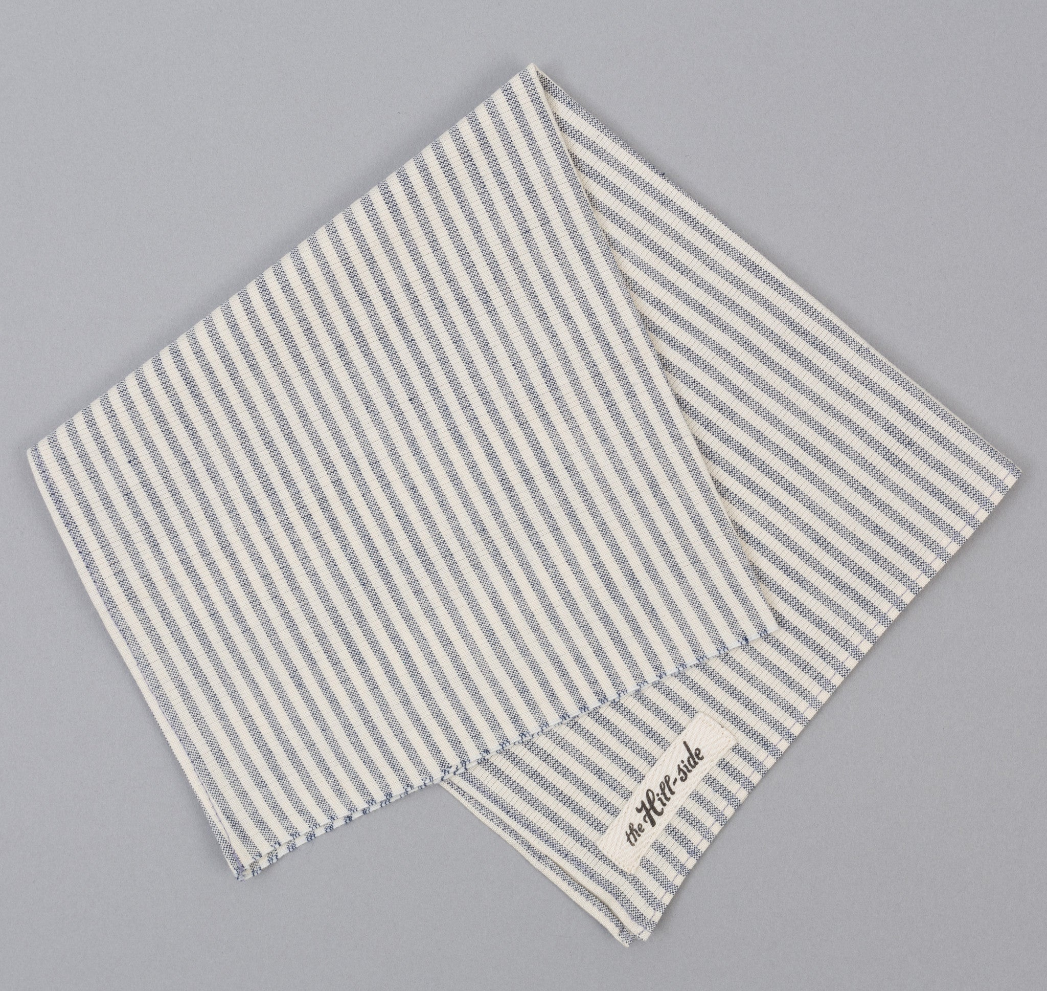 The Hill-Side TH-S Mills Natural Warp Border Stripe Bandana, Navy / Natural Hickory